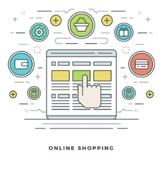 Flat line online shopping and e-commerce vector
