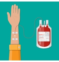 Bag with blood and hand of donor donation concept vector