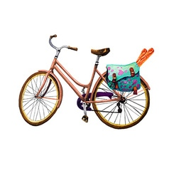 Bike baguette and bag vector
