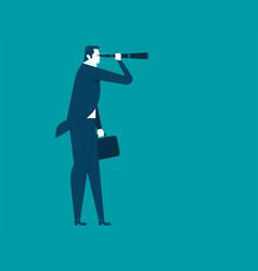 Businessman looking telescope vector