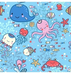 Cartoon marine seamless pattern vector image vector image