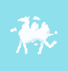 Cartoon silhouette of camel white fluffy cloud in vector