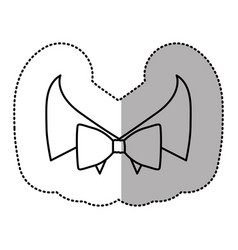 Contour sticker bow tie with shirt icon vector