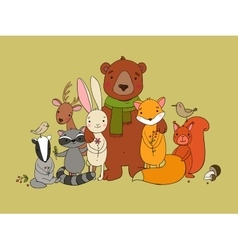 Cute animals of the forest vector image