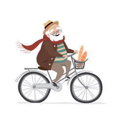 elderly man on a bicycle elderly vector image