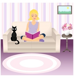 Girl and cat vector image