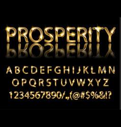 golden english alphabet on a black background vector image vector image