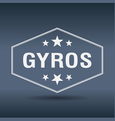 Gyros hexagonal white vintage retro style label vector