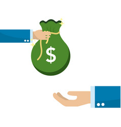 Hand with bag money giving to other person hand vector