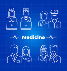 Hospital staff line icons - medicine personal vector
