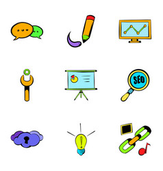 internet icons set cartoon style vector image vector image