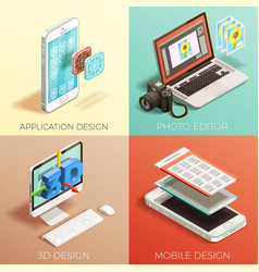 Isometric graphic design set vector