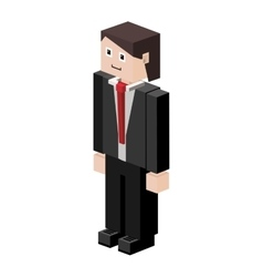 Lego silhouette man with formal suit vector