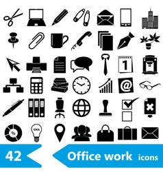 Office work theme simple black icons collection vector