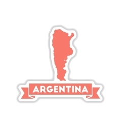 Paper sticker on white background map of argentina vector