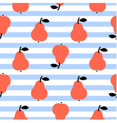 Red pear seamless blue striped pattern on white vector