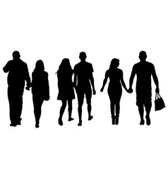 set of people holding hands vector image vector image