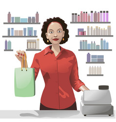 Smiling girl sales clerk holding a shopping bag vector