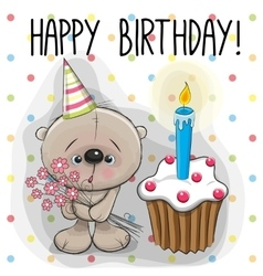 Teddy Bear with cake vector image vector image