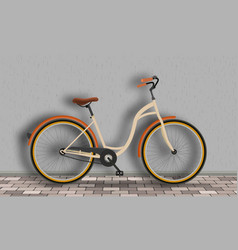 vintage bicycle stands against the wall on the vector image vector image