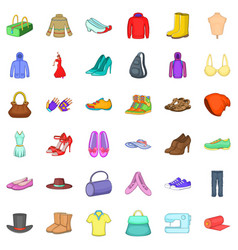 Vogue icons set cartoon style vector