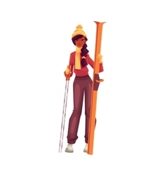Young black woman with ski and poles vector