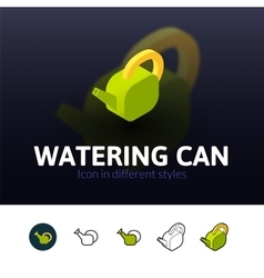 Watering can icon in different style vector