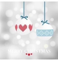 Christmas card with christmas balls and bokeh vector
