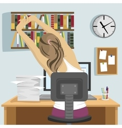 Young woman sitting and stretching on workplace vector