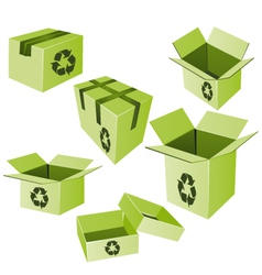 Green cardboards with recycle sign set vector