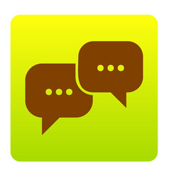 speech bubbles sign brown icon at green vector image
