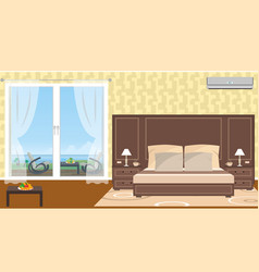 interior of resort hotel room with outlet to vector image