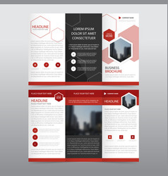 Red hexagon business trifold leaflet brochure vector