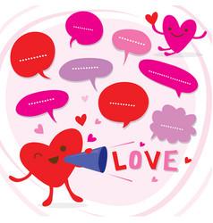 Heart speak love to sweetheart cute cartoon vector