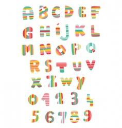 Striped alphabet vector