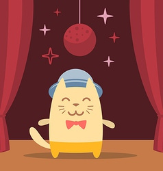 Character musician in costume hat and bow tie vector