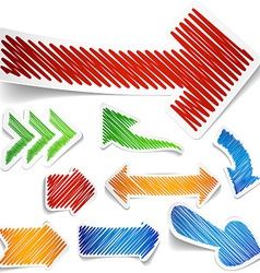 Scribbled color arrows set vector