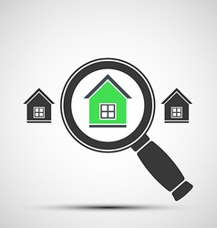 Image of a magnifying glass and real estate vector