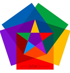 Colorful star from cubes abstract design element vector