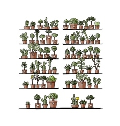 Shelves with plants in pots sketch for your vector