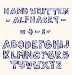 Hand written sketched hatched font vector