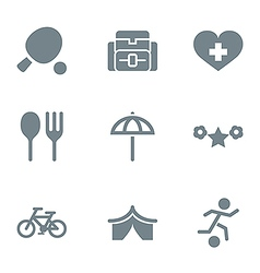 Gray icon set activity and rest vector