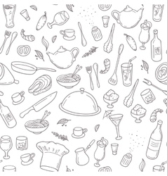 Food and drink outline seamless pattern hand vector