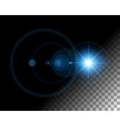Abstract lens flare lights on transparent vector image