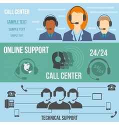 Technical support call center banners vector