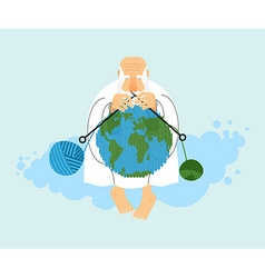 God sitting on cloud and knit planet earth vector
