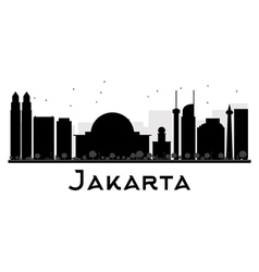 Jakarta city skyline black and white silhouette vector
