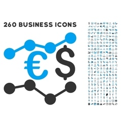 Financial trends icon with flat set vector