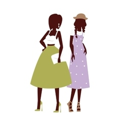 Fashion looks pure beauty two girls colored vector
