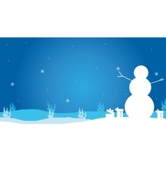 Christmas snowman and gift scenery vector